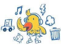 Αστείο κίτρινο πουλί ύφους χιπ-χοπ Στοκ Φωτογραφίες