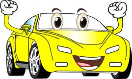Αστείο κίτρινο χρωματισμένο αυτοκίνητο κινούμενων σχεδίων Στοκ φωτογραφίες με δικαίωμα ελεύθερης χρήσης