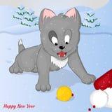 Αστείο και χαριτωμένο γατάκι ίχνος Άγιου Βασίλη Χαρούμενα Χριστούγεννα και κάρτα καλής χρονιάς Κάρτα Χριστουγέννων στο ύφος κινού Στοκ Φωτογραφίες