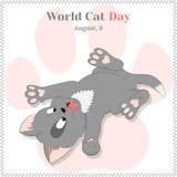 Αστείο και χαριτωμένο γατάκι παιχνιδιού για την ημέρα παγκόσμιων γατών Πρότυπο υποβάθρου, ευχετήριων καρτών, αφισών ή αφισσών δια Στοκ εικόνα με δικαίωμα ελεύθερης χρήσης