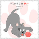 Αστείο και χαριτωμένο γατάκι παιχνιδιού για την ημέρα παγκόσμιων γατών Πρότυπο υποβάθρου, ευχετήριων καρτών, αφισών ή αφισσών δια Στοκ Εικόνες