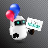 Αστείο και χαριτωμένο πετώντας ρομπότ με τα κόκκινα και μπλε μπαλόνια που κρατούν ένα σημάδι στο χέρι του απεικόνιση αποθεμάτων