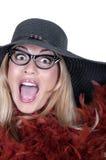 αστείο καπέλο γυαλιών κοριτσιών Στοκ Εικόνα