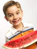 αστείο καρπούζι παιδιών στοκ φωτογραφία