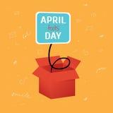 Αστείο κιβώτιο ημέρας του διανυσματικού ανόητου Απριλίου με την ετικέτα στο φωτεινό πορτοκαλί υπόβαθρο με τα doodles Στοκ Εικόνες