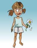 Αστείο κορίτσι κινούμενων σχεδίων που υποθέτει camomile λουλουδιών Στοκ Εικόνες