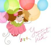 Αστείο κορίτσι με τα μπαλόνια Στοκ Εικόνες