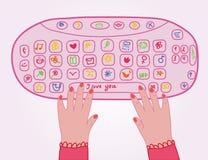 αστείο κορίτσι keybord διανυσματική απεικόνιση