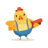 Αστείο κοτόπουλο κινούμενων σχεδίων που στέκεται και που κρατά skateboard τη ζωηρόχρωμη διανυσματική απεικόνιση χαρακτήρα Στοκ εικόνα με δικαίωμα ελεύθερης χρήσης