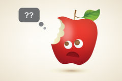 Αστείο κόκκινο δαγκωμένο μήλο Στοκ Φωτογραφία