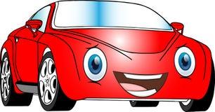 Αστείο κόκκινο χρωματισμένο αυτοκίνητο κινούμενων σχεδίων Στοκ φωτογραφία με δικαίωμα ελεύθερης χρήσης