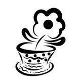 Αστείο λουλούδι flowerpot με ένα σχέδιο απεικόνιση αποθεμάτων