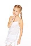 Αστείο μικρό κορίτσι με τις πλεξίδες Στοκ Εικόνα