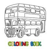 Αστείο μικρό λεωφορείο του Λονδίνου με τα μάτια γραφική απεικόνιση χρωματισμού βιβλίων ζωηρόχρωμη ελεύθερη απεικόνιση δικαιώματος