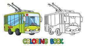 Αστείο μικρό Trolleybus με τα μάτια γραφική απεικόνιση χρωματισμού βιβλίων ζωηρόχρωμη διανυσματική απεικόνιση