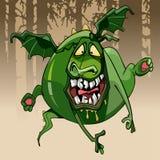 cbe1ac4ce8 Αστείο μπερδεμένο οδοντωτό πράσινο άλμα δράκων κινούμενων σχεδίων  απεικόνιση αποθεμάτων
