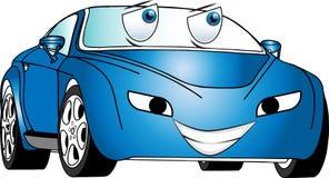 Αστείο μπλε χρωματισμένο αυτοκίνητο κινούμενων σχεδίων Στοκ φωτογραφίες με δικαίωμα ελεύθερης χρήσης