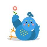 Αστείο μπλε πουλί που βρίσκεται και που κρατά τη διανυσματική απεικόνιση χαρακτήρα κινουμένων σχεδίων λουλουδιών Στοκ εικόνες με δικαίωμα ελεύθερης χρήσης