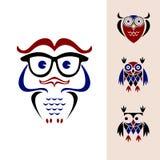 Αστείο λογότυπο κουκουβαγιών Στοκ Εικόνα