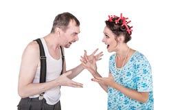 Αστείο οικογενειακό ζεύγος με το πρόβλημα σχέσης που απομονώνεται στοκ φωτογραφίες με δικαίωμα ελεύθερης χρήσης
