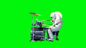 Αστείο παιχνίδι αστροναυτών στα τύμπανα πράσινη οθόνη Ρεαλιστική 4K ζωτικότητα απεικόνιση αποθεμάτων