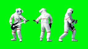 Αστείο παιχνίδι αστροναυτών στην κιθάρα πράσινη οθόνη Ρεαλιστική 4K ζωτικότητα απεικόνιση αποθεμάτων