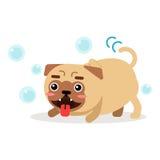 Αστείο παιχνίδι χαρακτήρα σκυλιών μαλαγμένου πηλού με τη διανυσματική απεικόνιση φυσαλίδων σαπουνιών Στοκ φωτογραφίες με δικαίωμα ελεύθερης χρήσης