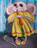 Αστείο ποντίκι σε ένα φόρεμα με το καρότο Ελαιογραφία στον καμβά στοκ φωτογραφία με δικαίωμα ελεύθερης χρήσης