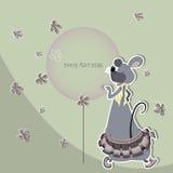 Αστείο ποντίκι σε μια φούστα με ένα μπαλόνι Στοκ Φωτογραφίες