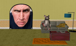 Αστείο ποντίκι σπιτιών, εγχώρια βελτίωση Στοκ εικόνες με δικαίωμα ελεύθερης χρήσης