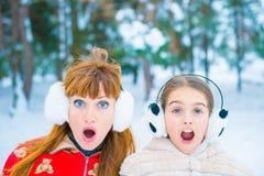 Αστείο πορτρέτο δύο το χειμώνα Στοκ Εικόνες