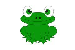 Αστείο πράσινο μεγάλο μάτι βατράχων απεικόνιση αποθεμάτων