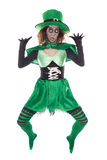 Αστείο πράσινο Leprechaun, στο λευκό, έννοια ST PatrickΣτοκ Φωτογραφία
