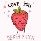 Αστείο πρότυπο αφισών ή μπλουζών με την αγάπη φραουλών και κειμένων κινούμενων σχεδίων εσείς μούρο πολύ ελεύθερη απεικόνιση δικαιώματος