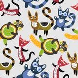 αστείο πρότυπο γατών άνευ &rho Καλλιτεχνικό υπόβαθρο με τα χαριτωμένα γατάκια ζώα ζωηρόχρωμα Αγαπημένα κατοικίδια ζώα Στοκ εικόνες με δικαίωμα ελεύθερης χρήσης