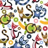 αστείο πρότυπο γατών άνευ &rho Καλλιτεχνικό υπόβαθρο με τα χαριτωμένα γατάκια ζώα ζωηρόχρωμα Αγαπημένα κατοικίδια ζώα Στοκ φωτογραφίες με δικαίωμα ελεύθερης χρήσης