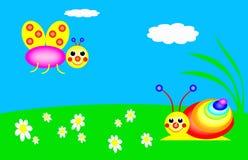 αστείο σαλιγκάρι πεταλούδων στοκ εικόνα με δικαίωμα ελεύθερης χρήσης