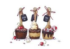 Αστείο συρμένο χέρι σκίτσο του σκοταδιού κομμάτων, του γάλακτος και των άσπρων κουταλιών σοκολάτας με το κεράσι, marshmallow, καρ στοκ εικόνες