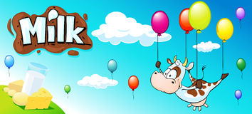 Αστείο σχέδιο με την αγελάδα, το ζωηρόχρωμο μπαλόνι και τα γαλακτοκομικά προϊόντα Στοκ Εικόνες