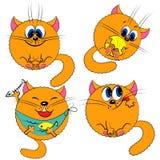 αστείο σύνολο γατακιών γατών γατών κινούμενων σχεδίων Στοκ Φωτογραφία