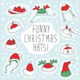 Αστείο σύνολο καπέλων Χριστουγέννων Στοκ φωτογραφίες με δικαίωμα ελεύθερης χρήσης