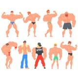 Αστείο σύνολο χαρακτήρων Bodybuilders Muscly απεικόνιση αποθεμάτων