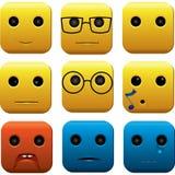 Αστείο τετραγωνικό διανυσματικό σύνολο Emoticons Στοκ Εικόνα