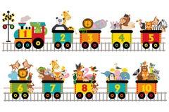 Αστείο τραίνο με τον αριθμό τα ζώα διανυσματική απεικόνιση