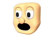 Αστείο τρισδιάστατο φοβησμένο επικεφαλής εικονίδιο του χαρακτήρα κινουμένων σχεδίων Στοκ Εικόνα