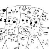 Αστείο υπόβαθρο προσώπου doodle απεικόνιση αποθεμάτων