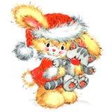 Αστείο υπόβαθρο watercolor λαγουδάκι και Χριστουγέννων Στοκ Εικόνες