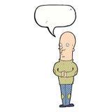 αστείο φαλακρό άτομο κινούμενων σχεδίων με τη λεκτική φυσαλίδα Στοκ Φωτογραφία