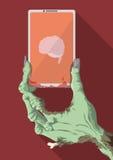 Αστείο χέρι Zombie που κρατά ένα έξυπνο τηλέφωνο με τον εγκέφαλο App, διανυσματική απεικόνιση Στοκ εικόνα με δικαίωμα ελεύθερης χρήσης
