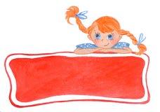 Αστείο χαμογελώντας κορίτσι με τα τόξα Κόκκινο έμβλημα διανυσματική απεικόνιση
